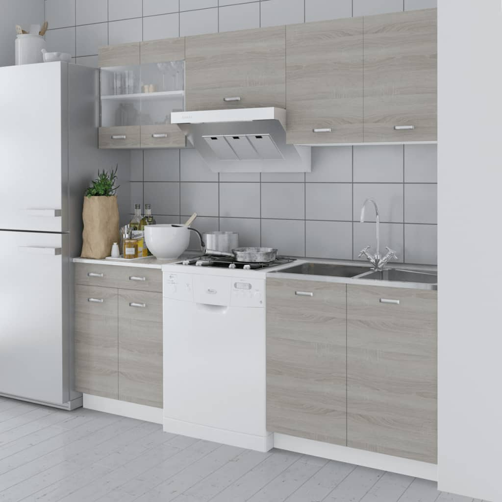 VidaXL.co.uk Oak Look Kitchen Cabinet Unit 5 Pcs. Full resolution‎  image, nominally Width 1024 Height 1024 pixels, image with #736444.