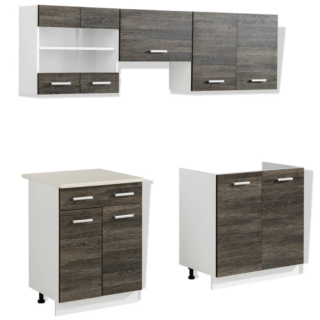 Wenge look kitchen cabinet unit 5 pcs 200 cm for Looking for kitchen cupboards