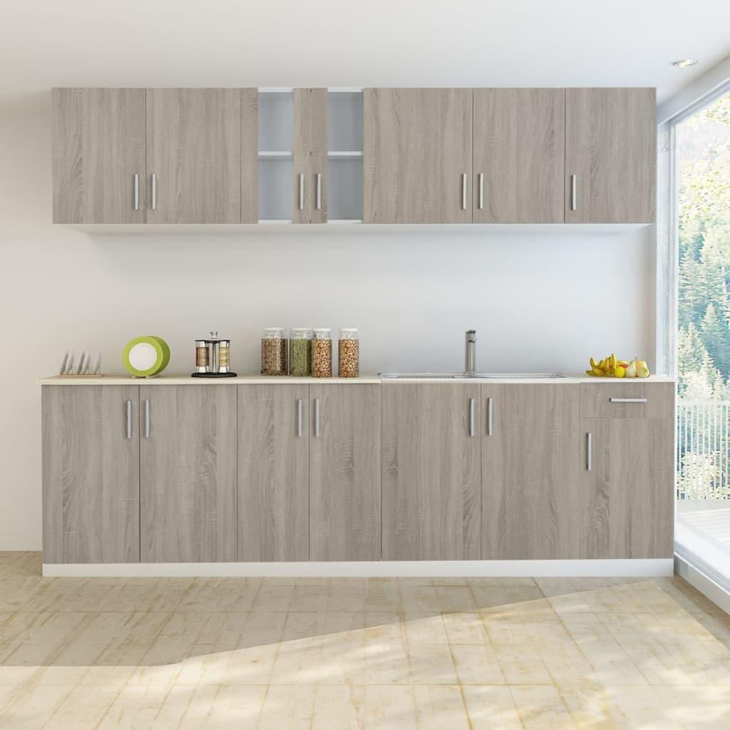 vidaXL-Set-Armadi-Cucina-Aspetto-Legno-con-Unita-base-per-Lavandino-8-pz