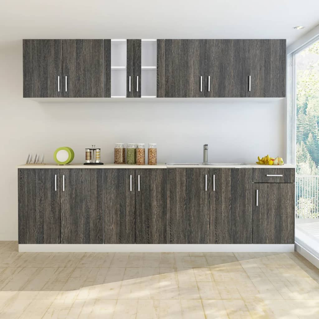 Wenge look kitchen cabinet with base unit for sink 8 pcs for Looking for kitchen cupboards