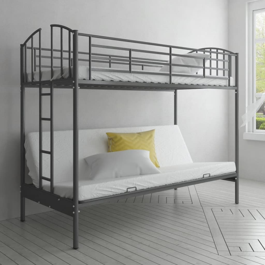 Children 39 s futon bunk bed frame for Bunk bed frame with mattress