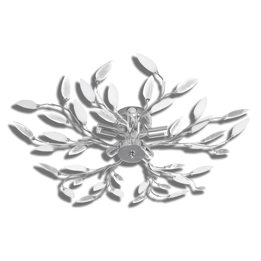 vidaXL-Lampara-Blanca-Colgante-Y-Transparente-En-Forma-Hojas-Cristal-Acrilico