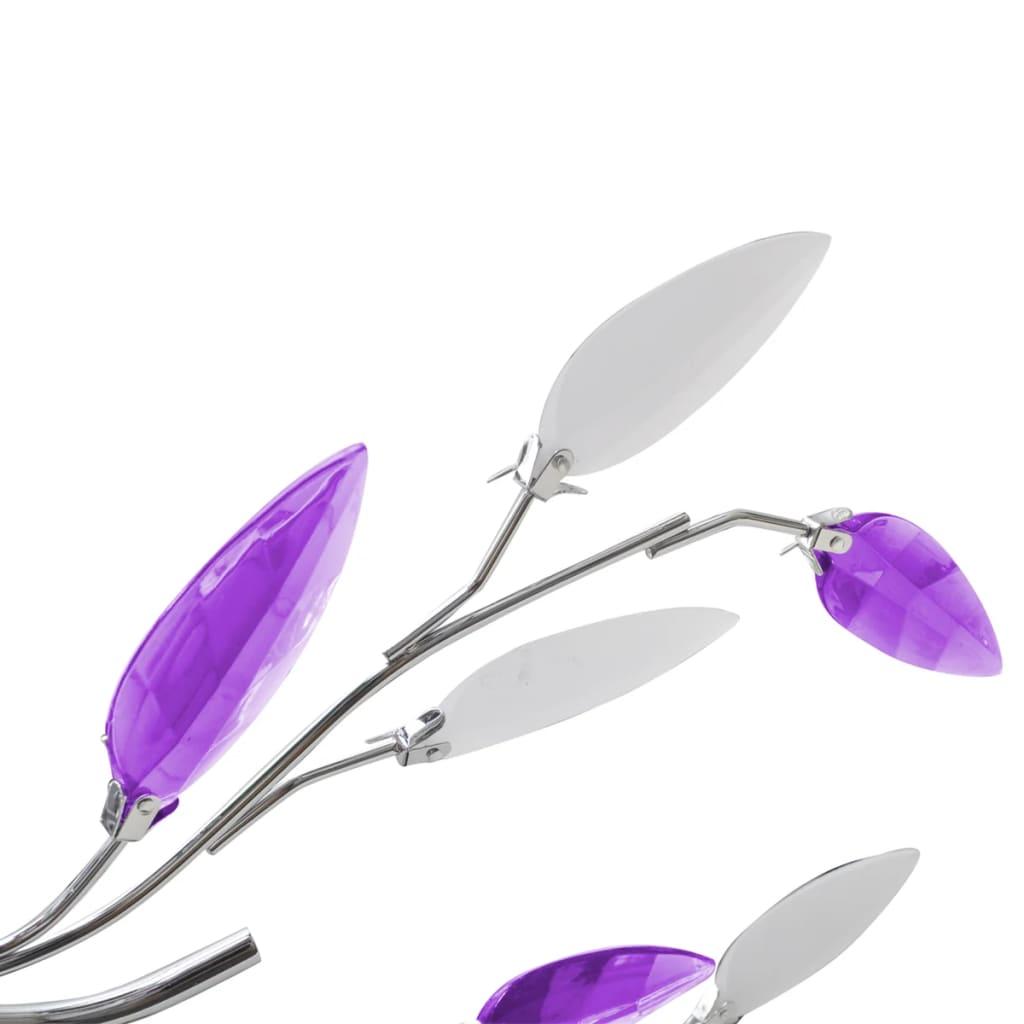vidaXL-Ceiling-Lamp-Purple-amp-White-Acrylic-Crystal-Leaf-Arms-5xE14-Bulbs-Light