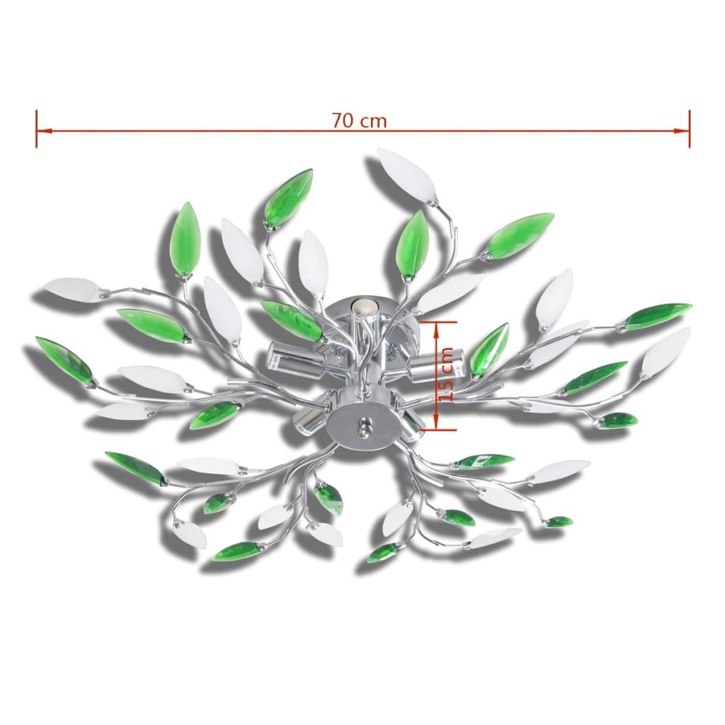 vidaXL Lampada da Soffitto Verde e Bianco Cristalli Acrilico 5 E14 Lampadario