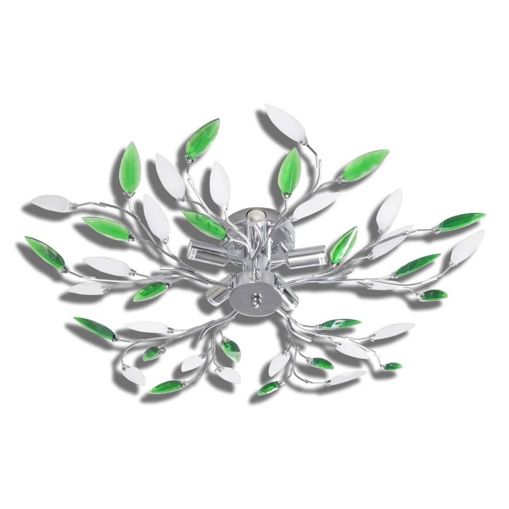 Lamp met kristallen bladeren van acryl voor 5x E14 (Wit-Groen)
