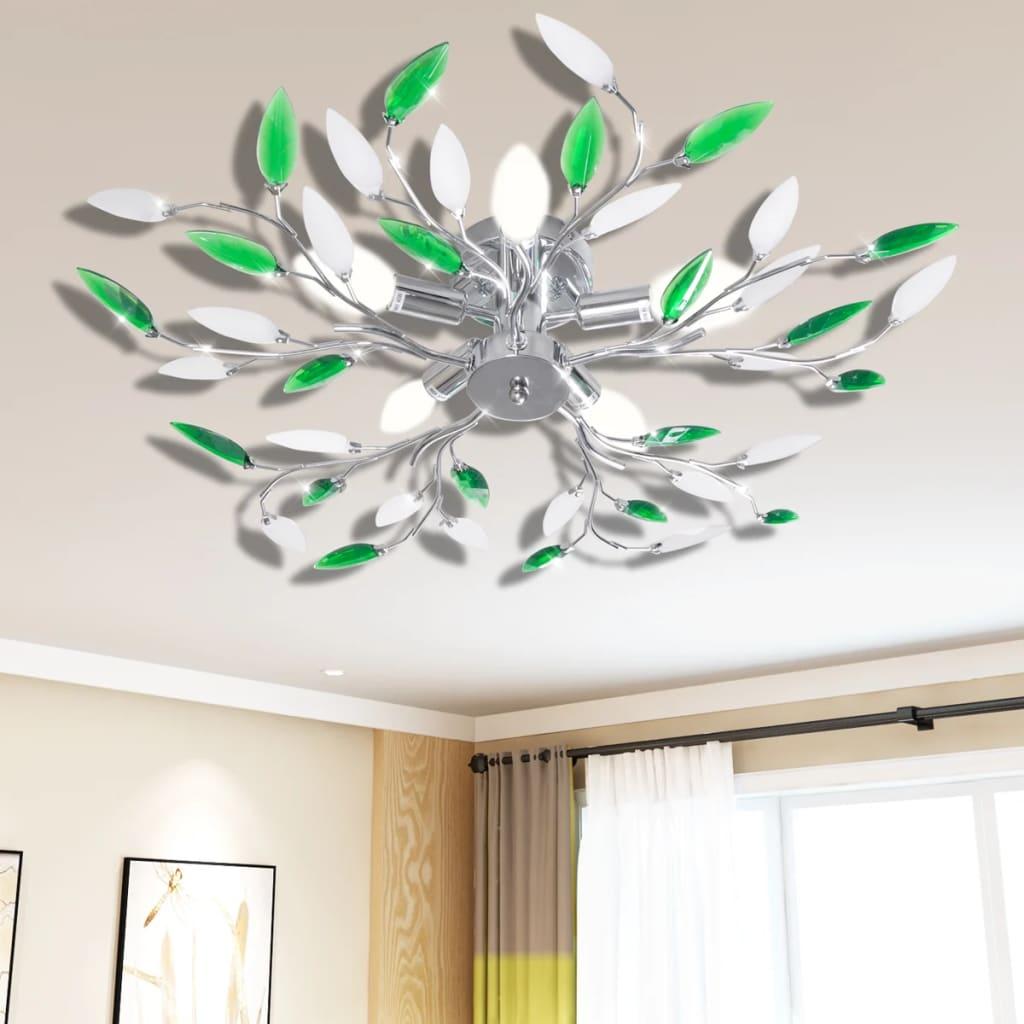 vidaXL Zöld és Fehér Mennyezeti Lámpa Akril Kristály Levél 5 E14 Izzók
