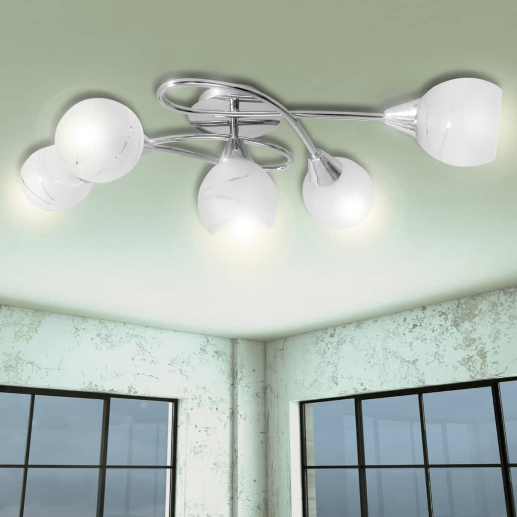 5-Bulbs-Ceiling-Chandelier-Lamp-with-Glass-Shades-Unusual-Spiral-Design