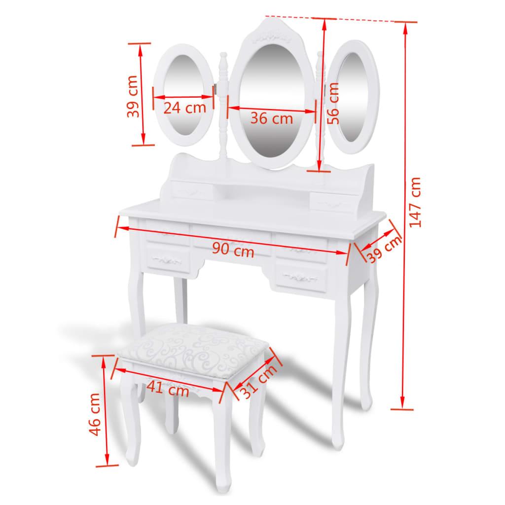 acheter coiffeuse avec tabouret et 3 miroirs pas cher. Black Bedroom Furniture Sets. Home Design Ideas
