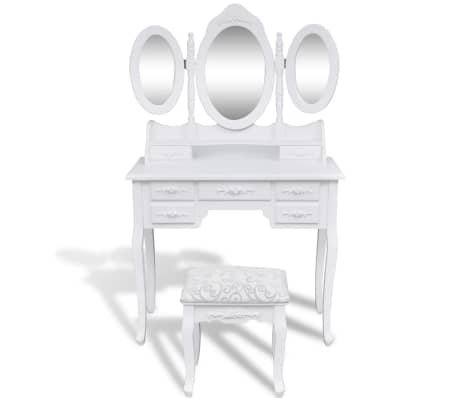 coiffeuse avec tabouret et 3 miroirs. Black Bedroom Furniture Sets. Home Design Ideas
