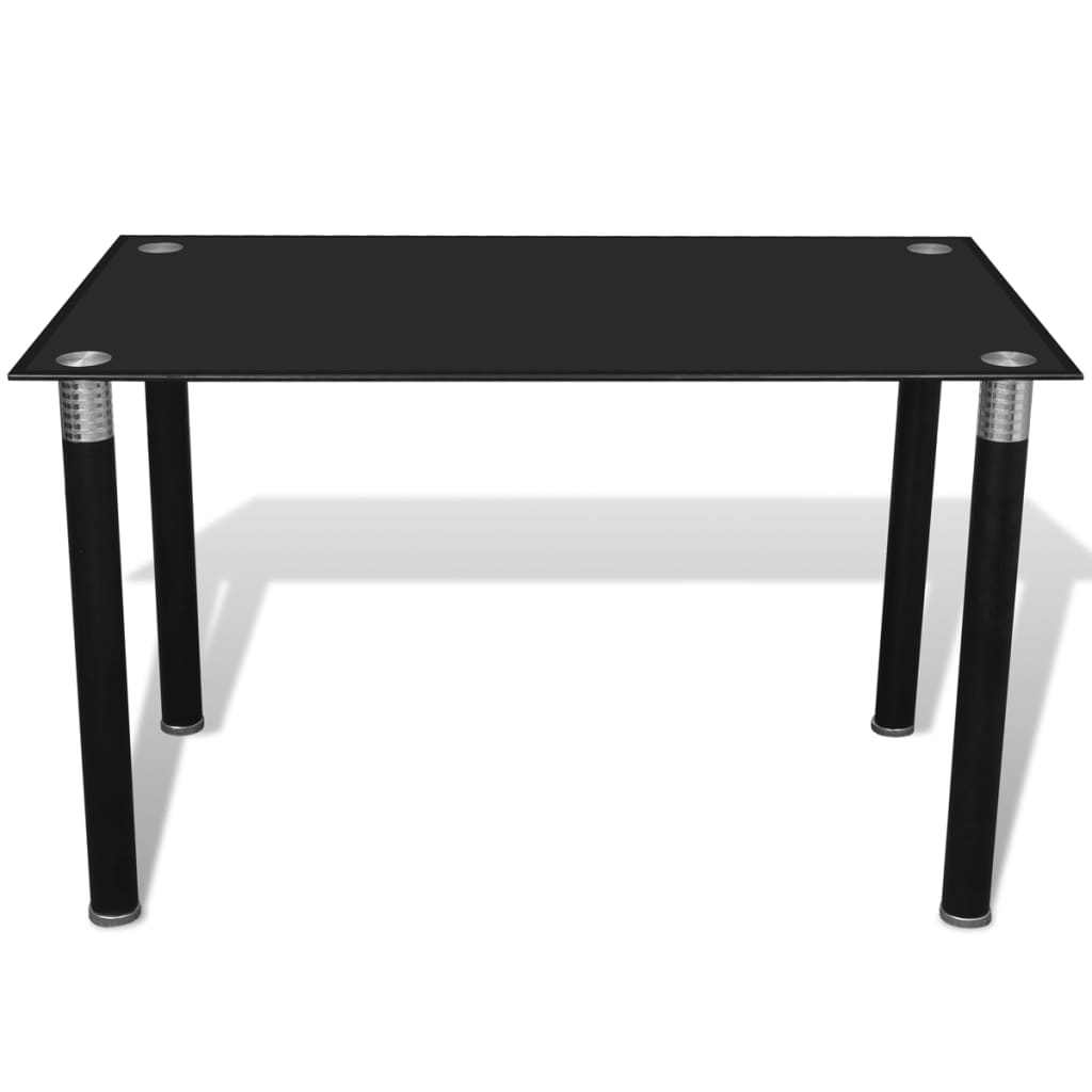 Black glass top dining table for Table salle a manger 80 cm largeur