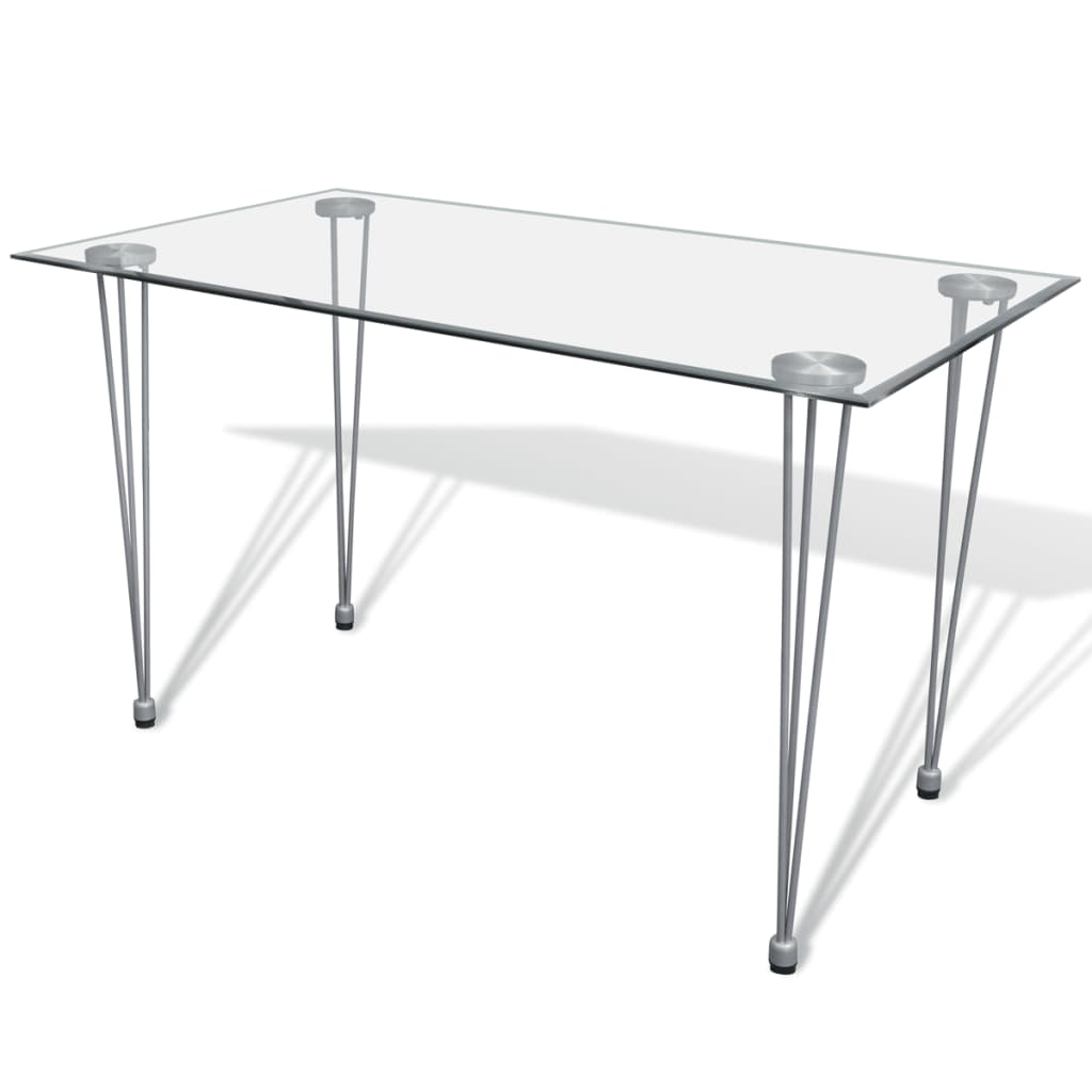 Transparent glass top dining table Glass dining table
