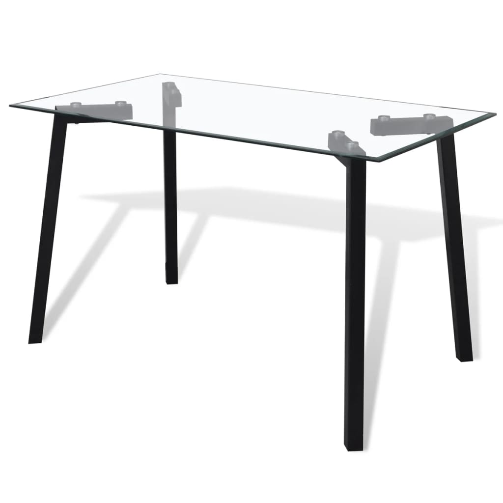 Keukentrolley Action : Glass Top Dining Table with Steel Legs