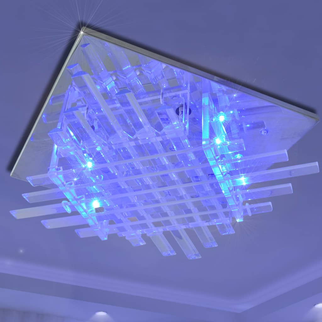 square rgb led ceiling lamp with glass strips. Black Bedroom Furniture Sets. Home Design Ideas