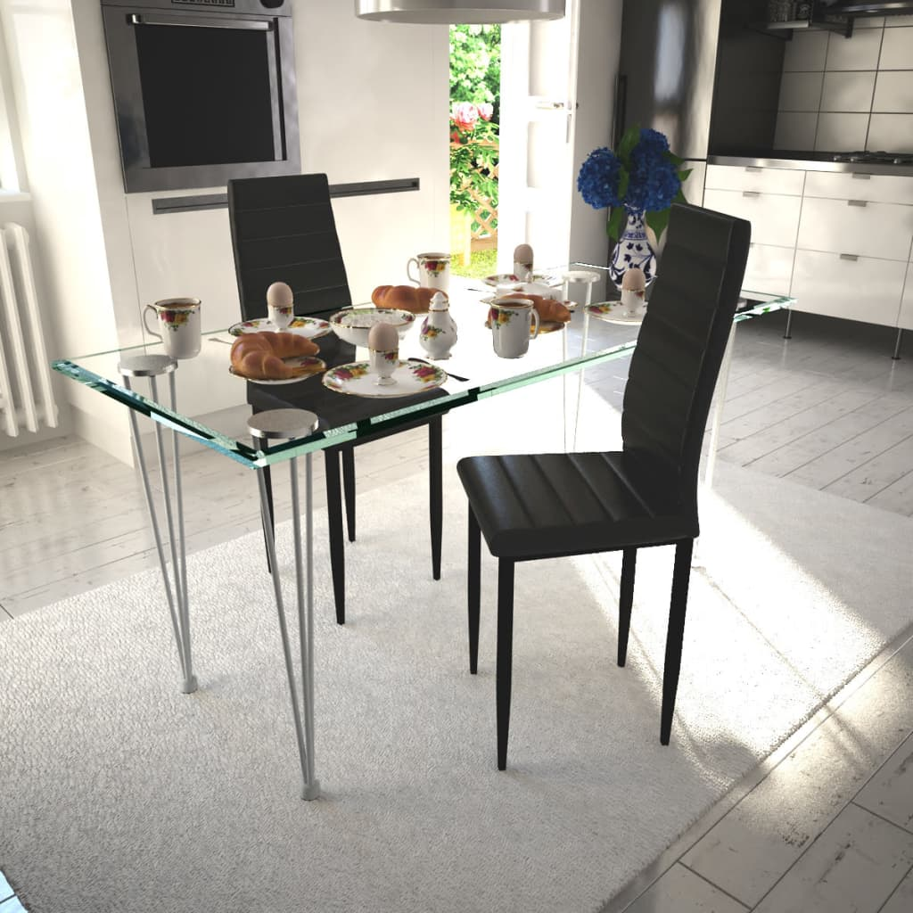 vidaXL Esszimmerstühle 2 Stk. Schlankes Design Schwarz