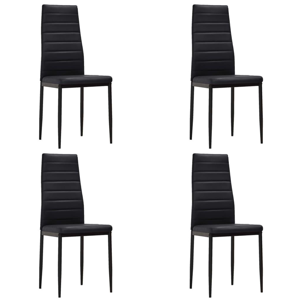 vidaXL Krzesła do jadalni, 4 szt., smukła linia, czarne