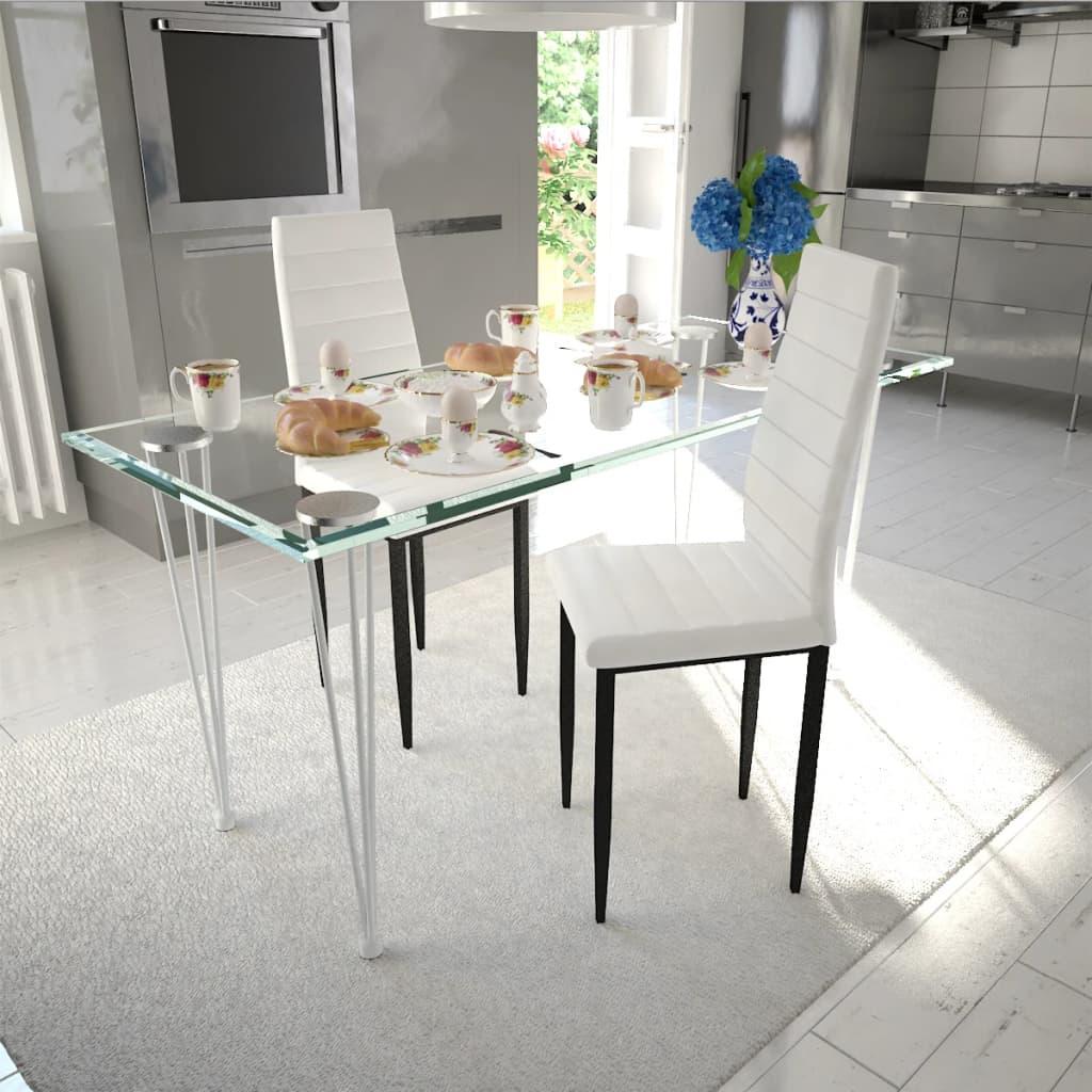 vidaXL Esszimmerstühle 2 Stk. Schlankes Design Weiß