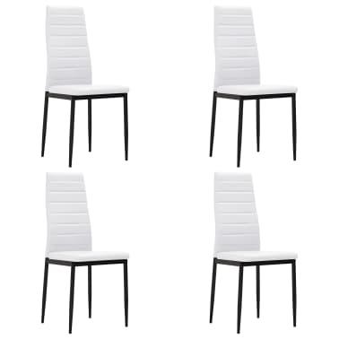 vidaXL Chaise de salle à manger 4 pcs Design fin Blanc [2/8]