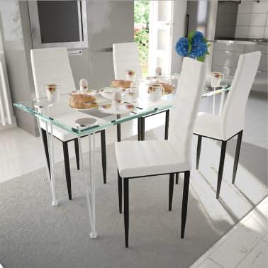 vidaXL Chaise de salle à manger 4 pcs Design fin Blanc [1/8]
