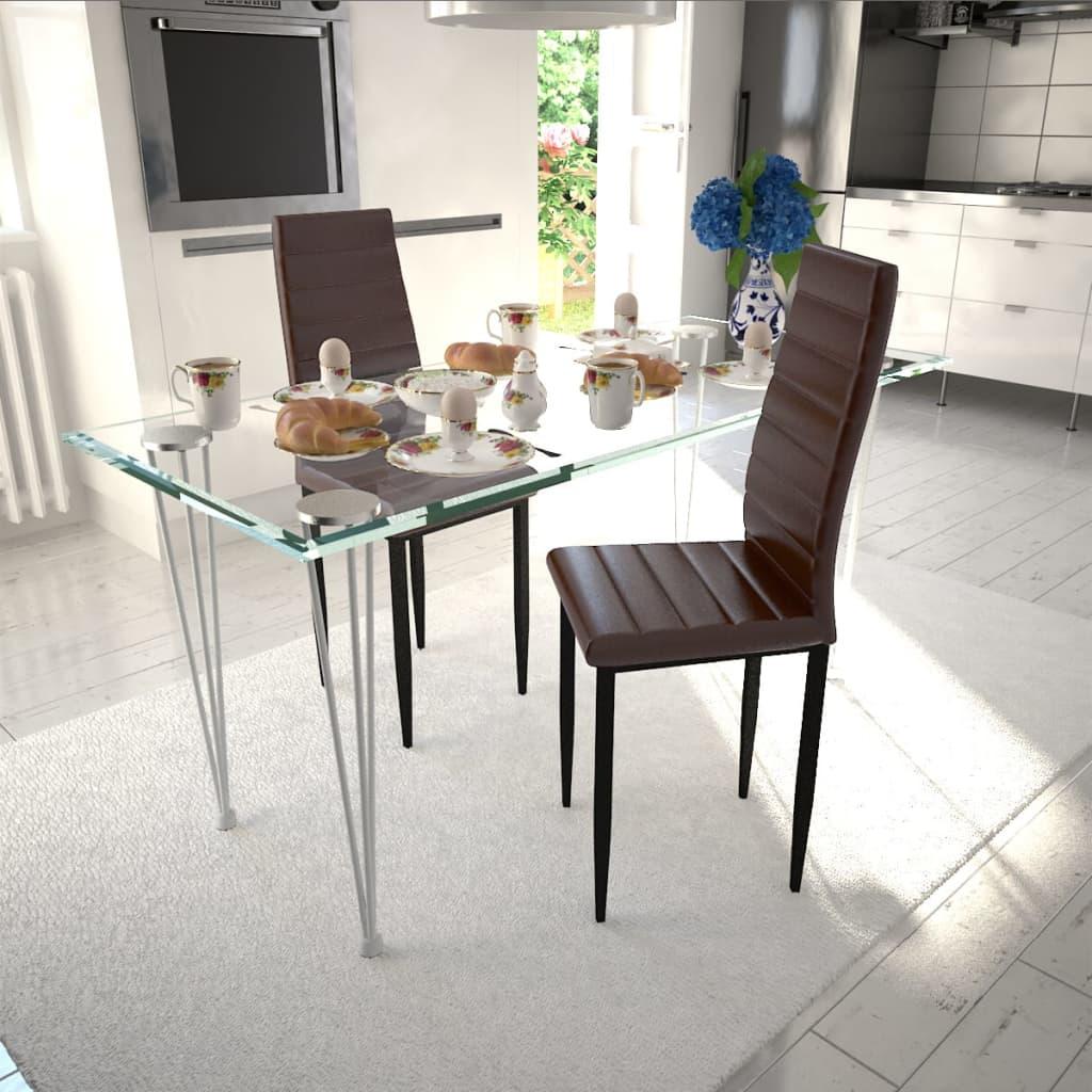 vidaXL-2pz-Sedia-da-tavola-soggiorno-cucina-sala-da-pranzo-linea-sottile-marrone