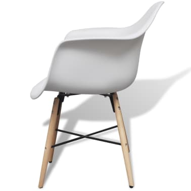 4 White Dining Chair with Armrests and Beech Wood Legs[4/6]
