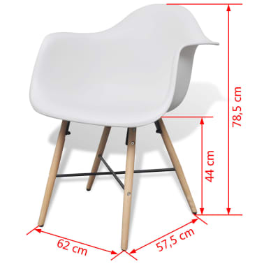 4 White Dining Chair with Armrests and Beech Wood Legs[6/6]