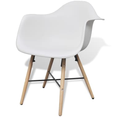 4 White Dining Chair with Armrests and Beech Wood Legs[3/6]