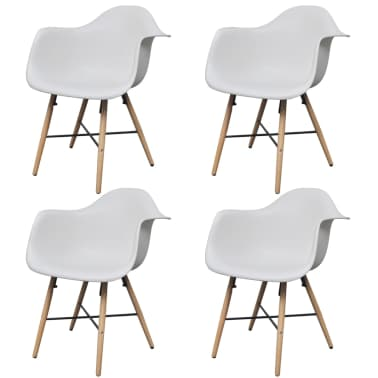 4 White Dining Chair with Armrests and Beech Wood Legs[2/6]