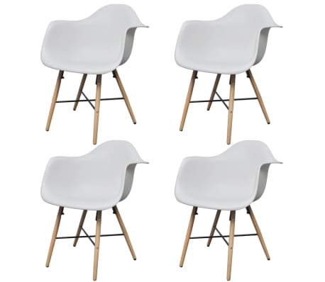 4 White Dining Chair with Armrests and Beech Wood Legs