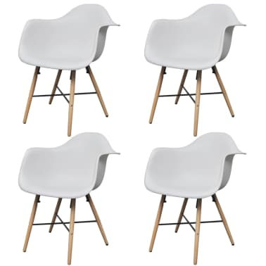 4 White Dining Chair with Armrests and Beech Wood Legs[1/6]