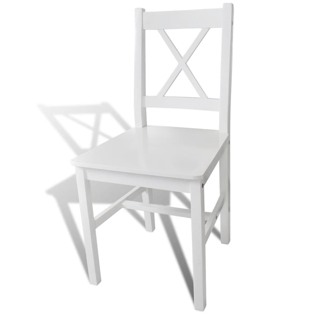 Acheter 4 pcs chaise salle manger en bois blanc pas cher for Salle a manger en solde
