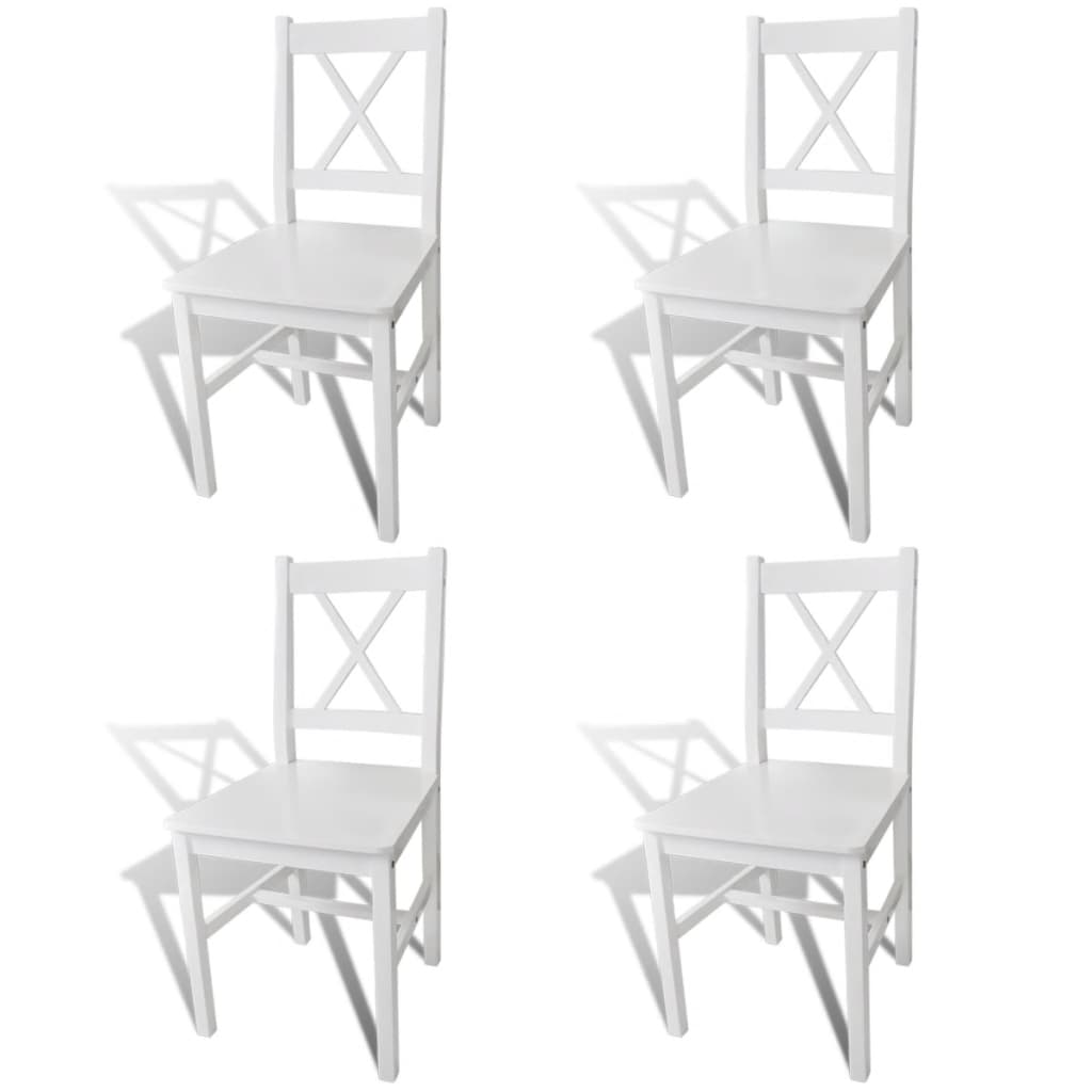 La boutique en ligne 4 pcs chaise salle manger en bois - Chaise en bois blanc ...