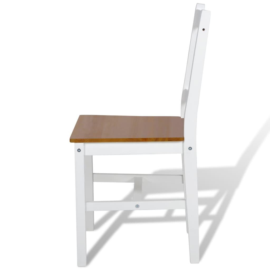 La boutique en ligne 2 pcs chaise salle manger en bois blanc et naturel v - Chaise bois blanc salle manger ...