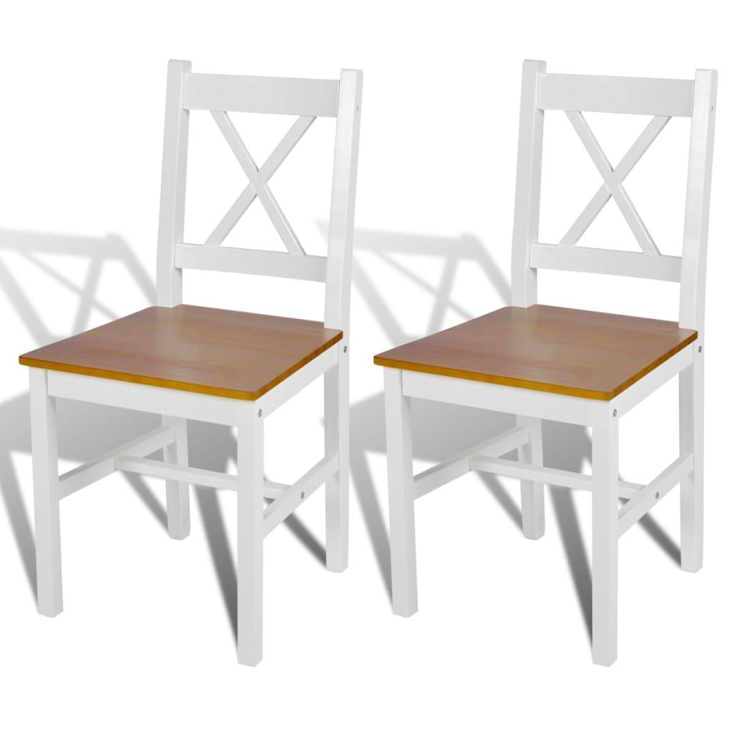 Sedia da tavola legno bianca e colore naturale 2 pz - Sedia bianca legno ...