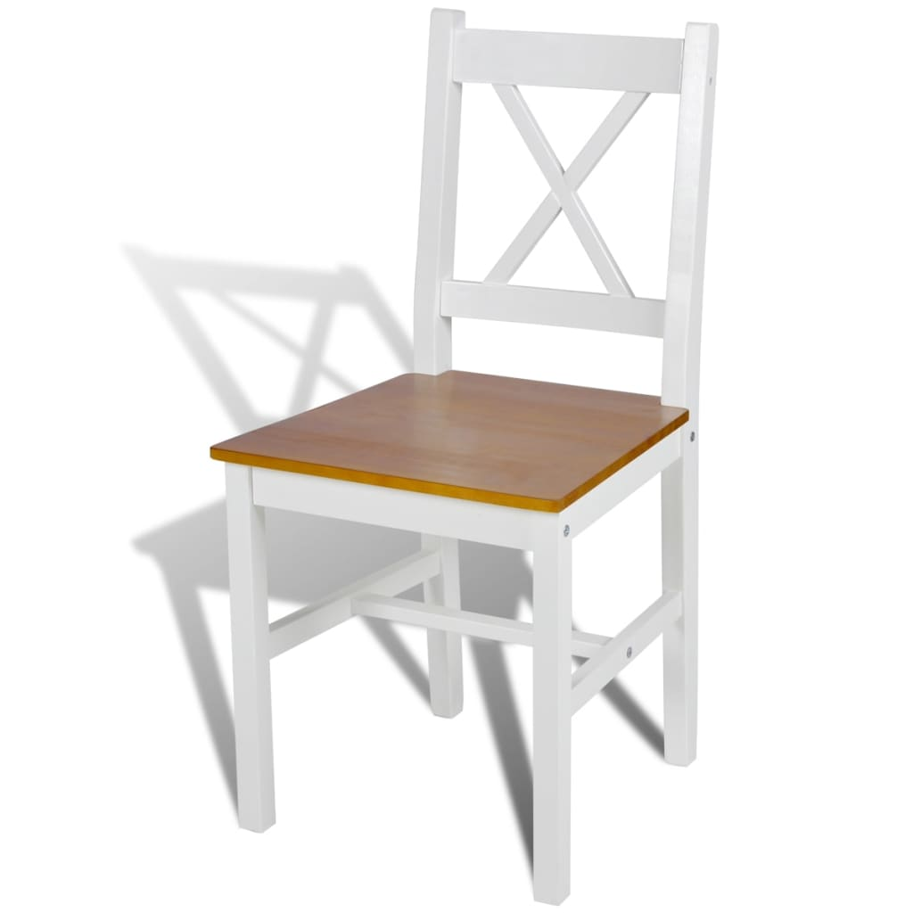 Acheter 4 pcs chaise salle manger en bois blanc et for Salle a manger bois et blanc