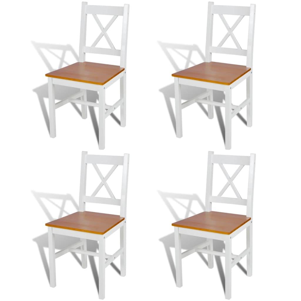 vidaXL Krzesła do jadalni, 4 szt., drewniane, kolor biały i naturalny