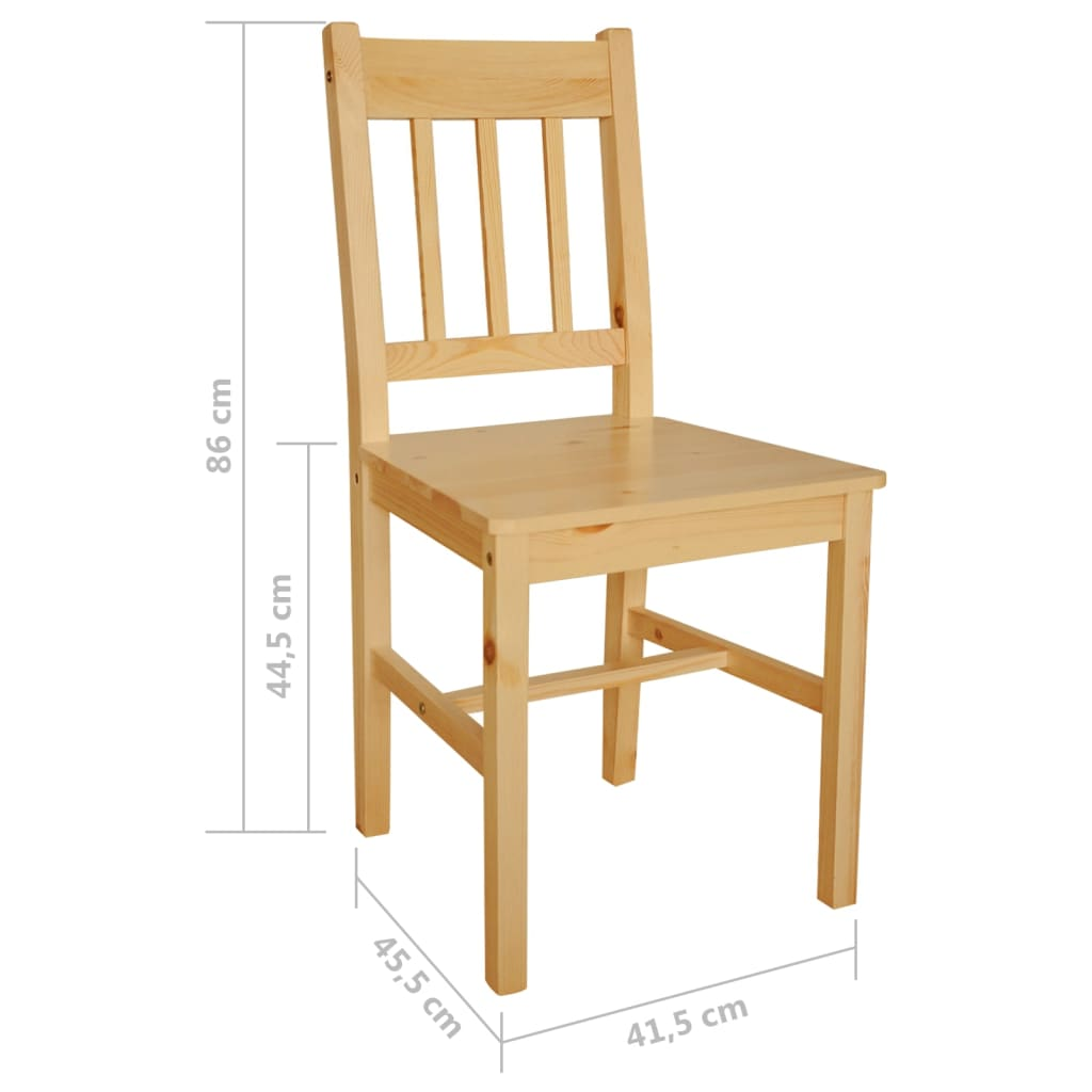 2 pcs natural colour wood dining chair