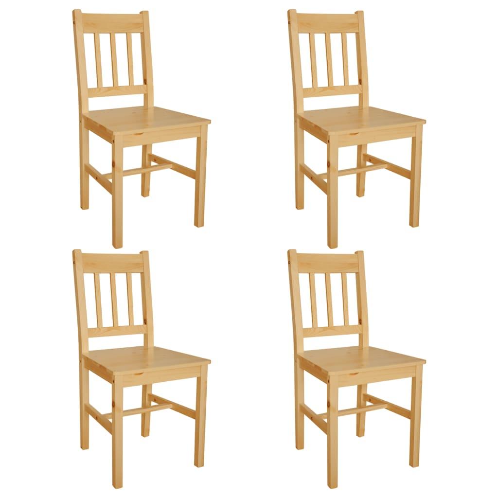 vidaXL Esszimmerstühle 4 Stk. Holz Natur