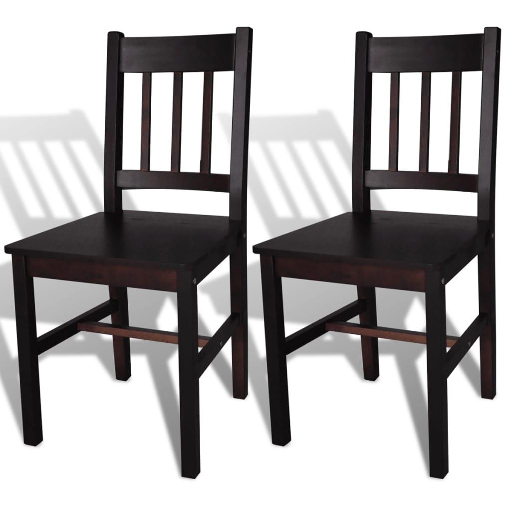 La boutique en ligne 2 pcs chaise salle manger en bois for Chaise de salle a manger brun