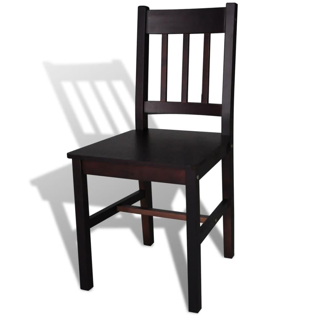 Silla de comedor 4 unidades marrones de madera de pino for Comedor 4 sillas madera