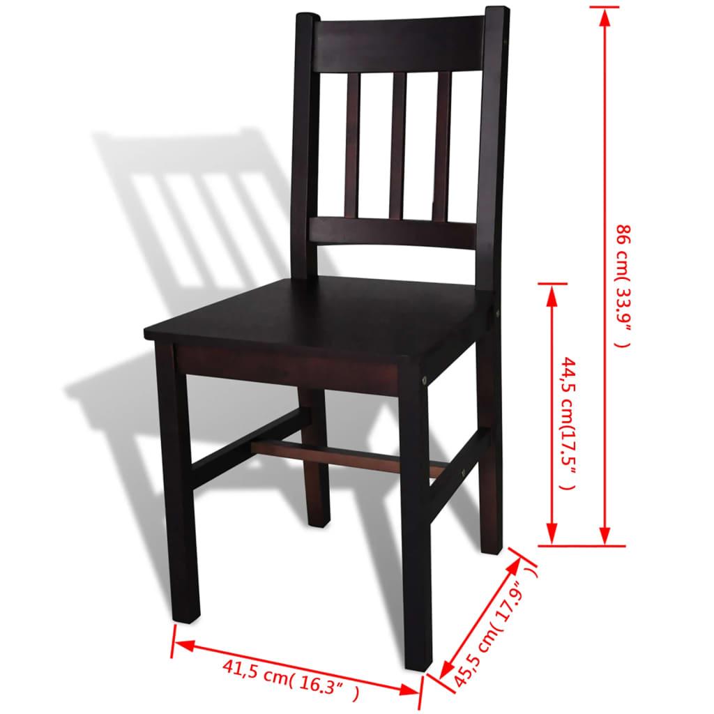 Silla de comedor 4 unidades marrones de madera de pino tienda online for Comedor 4 sillas madera