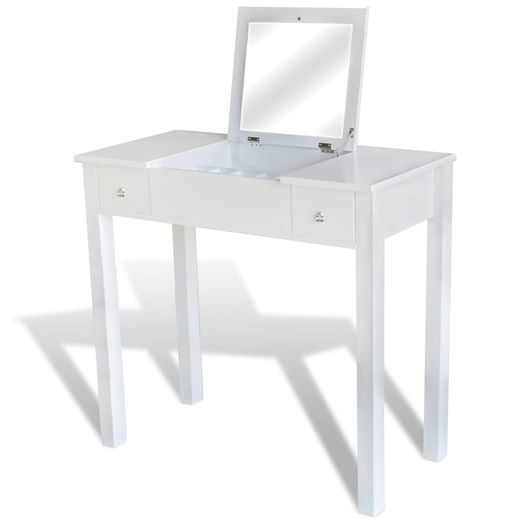 la boutique en ligne coiffeuse blanche avec tabouret et 1 miroir basculant. Black Bedroom Furniture Sets. Home Design Ideas