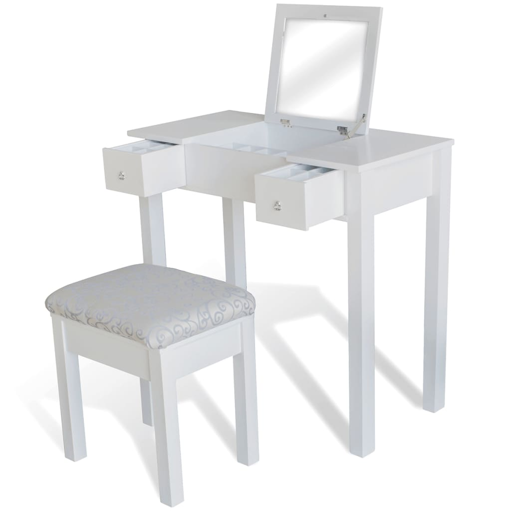 White Dressing Table With Stool And 1 Flip Up Mirror