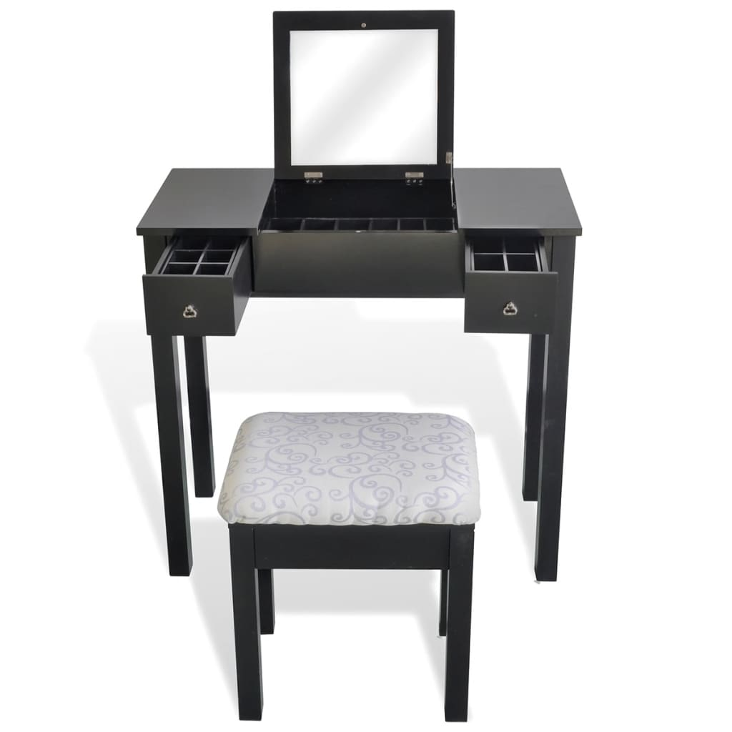der schminktisch mit hocker und einklappbarem spiegel schwarz online shop. Black Bedroom Furniture Sets. Home Design Ideas