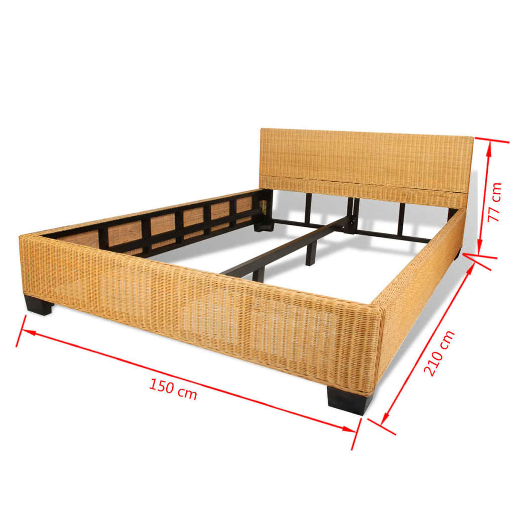 vidaxl bett handgewebt echtes rattan 140 x 200 cm im vidaxl trendshop. Black Bedroom Furniture Sets. Home Design Ideas
