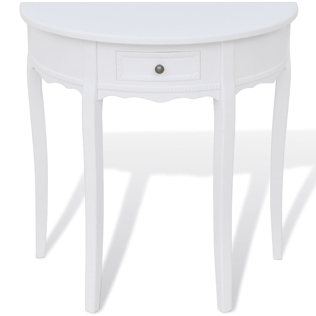 la boutique en ligne console demi ronde blanche avec tiroir. Black Bedroom Furniture Sets. Home Design Ideas