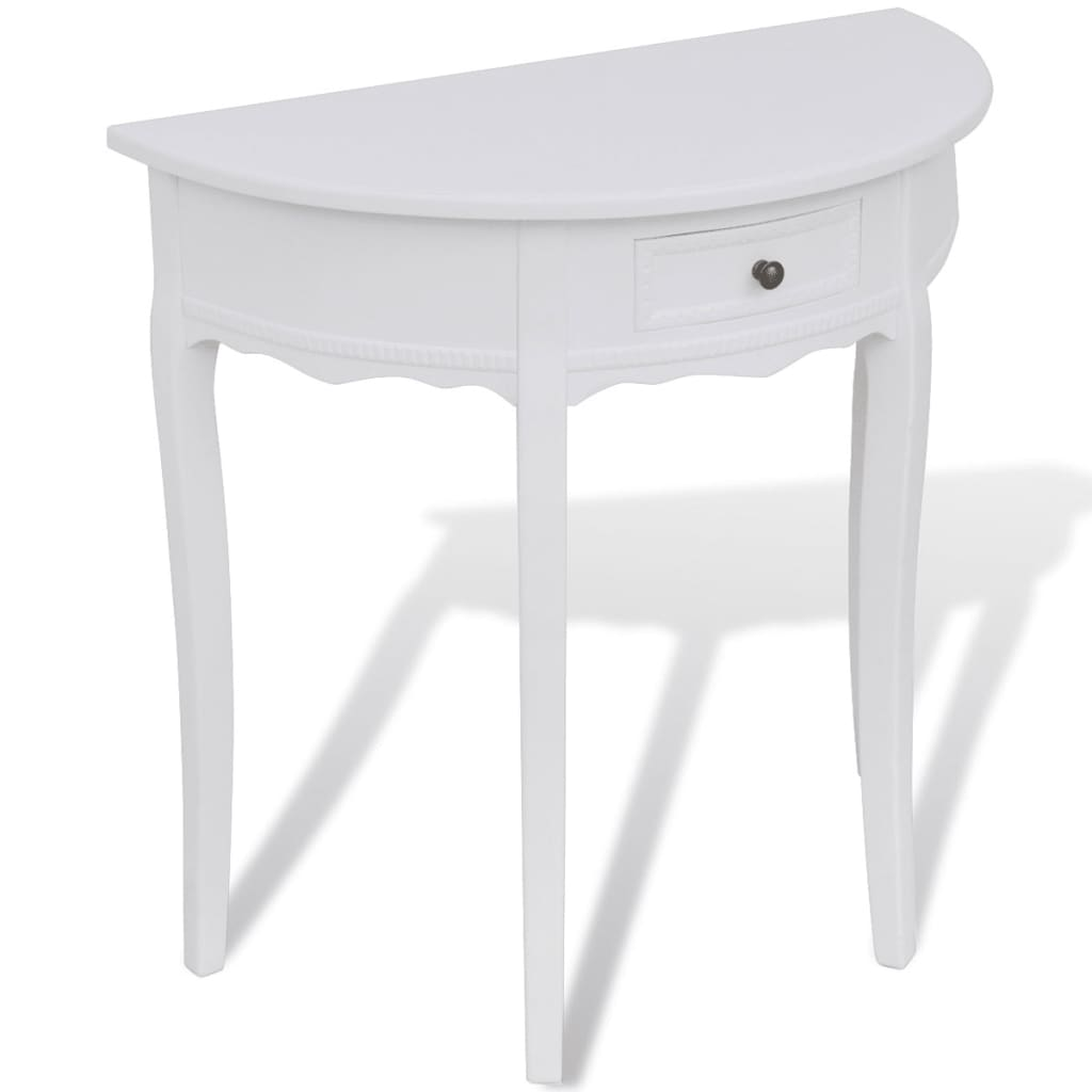 la boutique en ligne console demi ronde blanche avec. Black Bedroom Furniture Sets. Home Design Ideas
