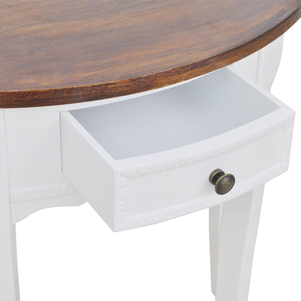 acheter console demi ronde avec tiroir blanche et plateau marron pas cher. Black Bedroom Furniture Sets. Home Design Ideas