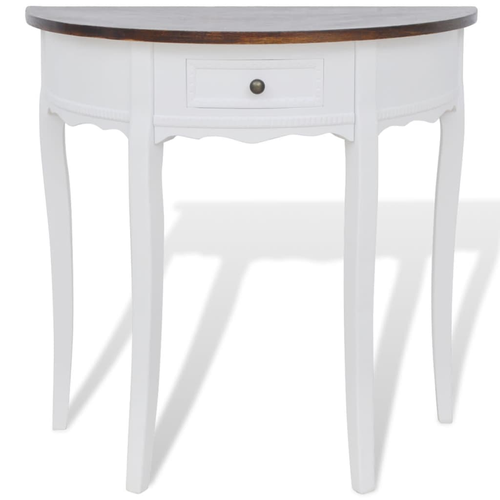 White half round console table with drawer brown top vidaxl white half round console table with drawer brown top24 geotapseo Gallery