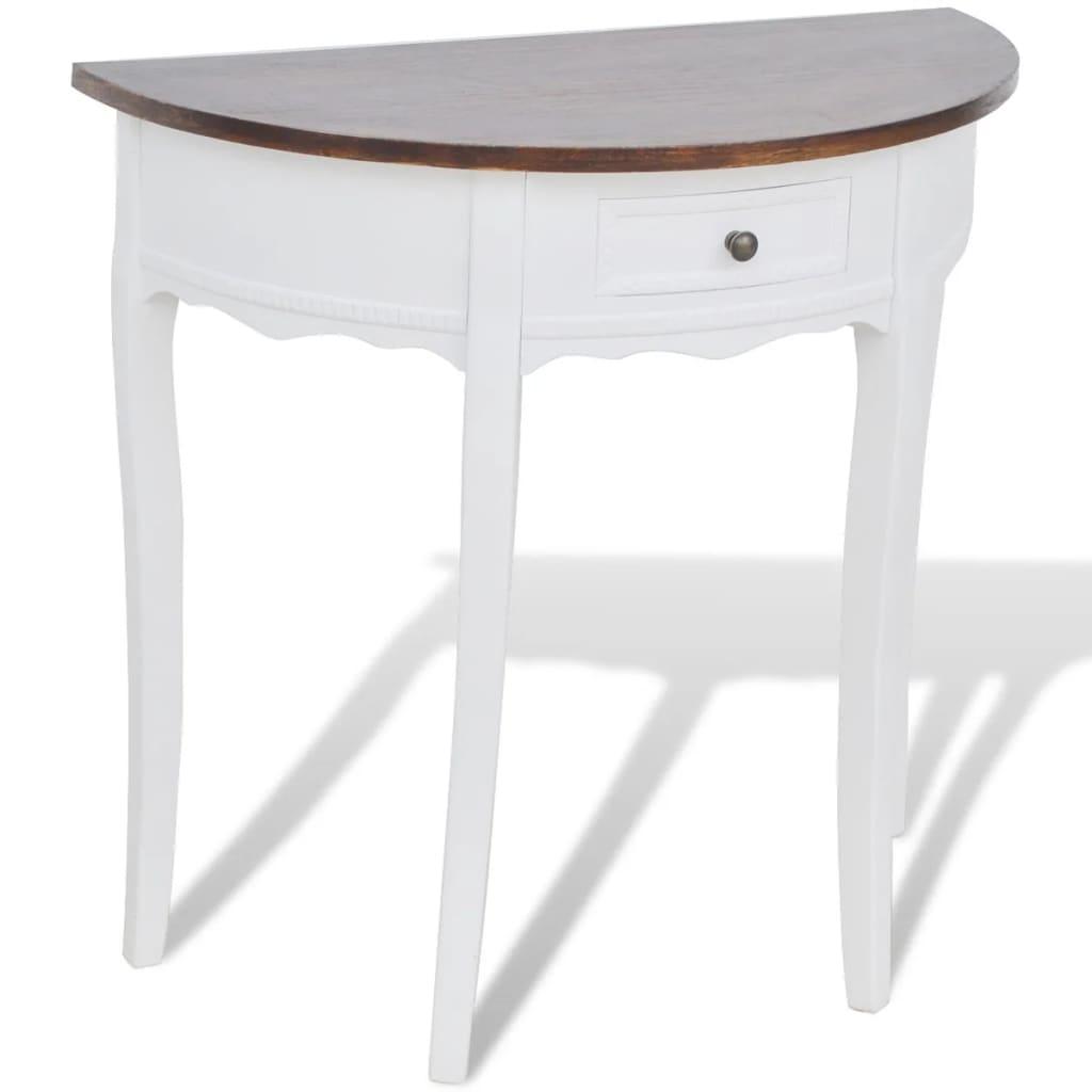 Tavolo Consolle Semicircolare Bianco con Cassetto e Piano Marrone ...