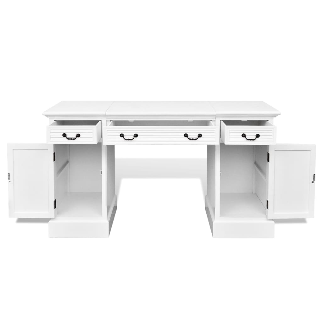 acheter bureau blanc double pi destal avec armoires et tiroirs pas cher. Black Bedroom Furniture Sets. Home Design Ideas
